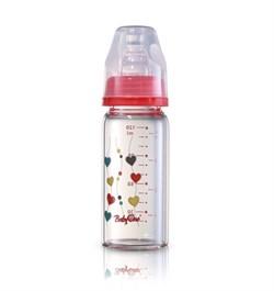Стеклянная бутылочка BabyOno стандартная (120мл.) - красная