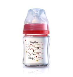 Стеклянная бутылочка BabyOno с широким горлышком (120мл)- красная