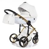 детская коляска 2 в 1 Junama Diamond Individual Белая на Золотой раме (кожа) JDI-04